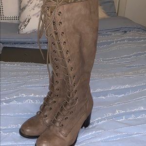 Nine West lace up knee high heeled boots